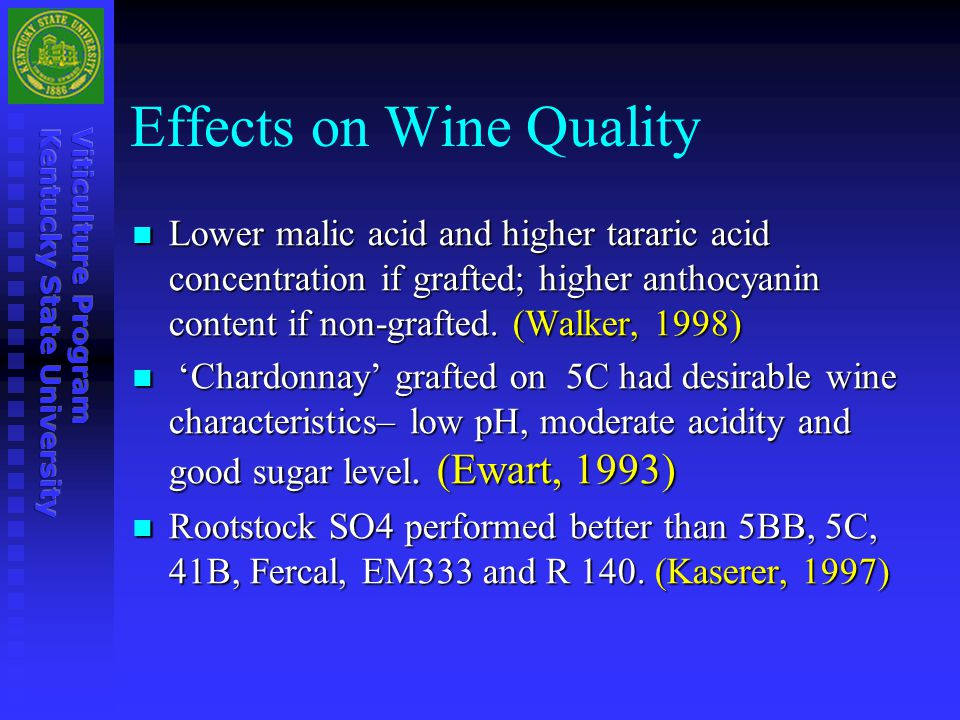 Effects on Wine Quality Lower malic acid and higher tararic acid concentration if grafted; higher anthocyanin content if non-grafted. (Walker, 1998) L
