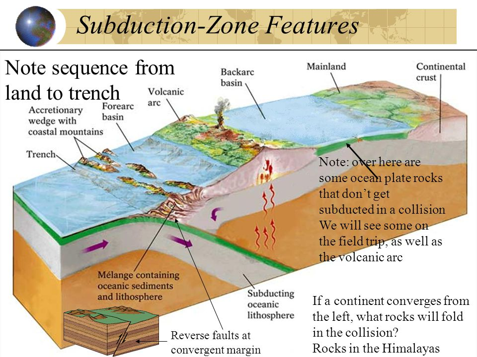 Subduction-Zone Features Note sequence from land to trench If a continent converges from the left, what rocks will fold in the collision.