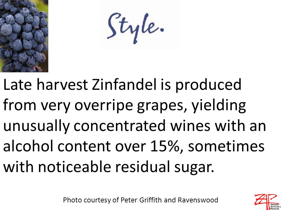 Late harvest Zinfandel is produced from very overripe grapes, yielding unusually concentrated wines with an alcohol content over 15%, sometimes with noticeable residual sugar.