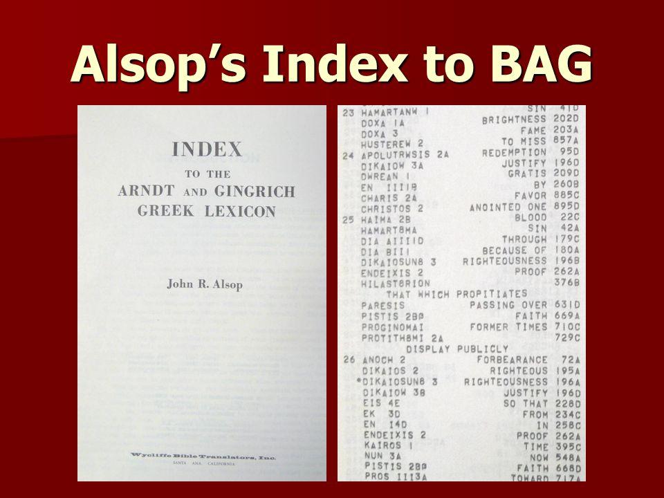 Alsop's Index to BAG