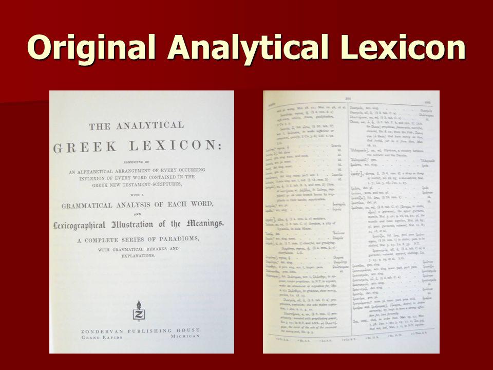 Original Analytical Lexicon