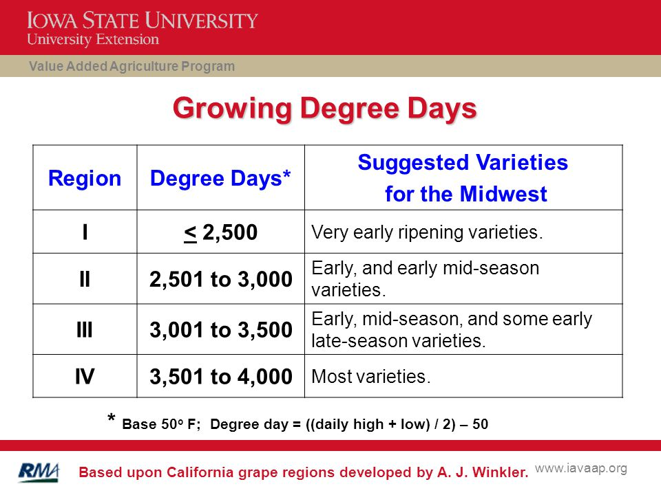Value Added Agriculture Program www.iavaap.org Growing Degree Days RegionDegree Days* Suggested Varieties for the Midwest I< 2,500 Very early ripening varieties.