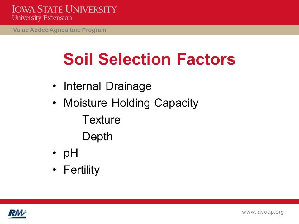 Value Added Agriculture Program www.iavaap.org Soil Selection Factors Internal Drainage Moisture Holding Capacity Texture Depth pH Fertility