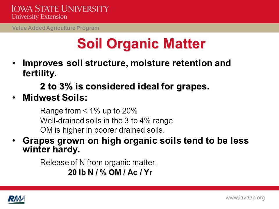 Value Added Agriculture Program www.iavaap.org Soil Organic Matter Improves soil structure, moisture retention and fertility.