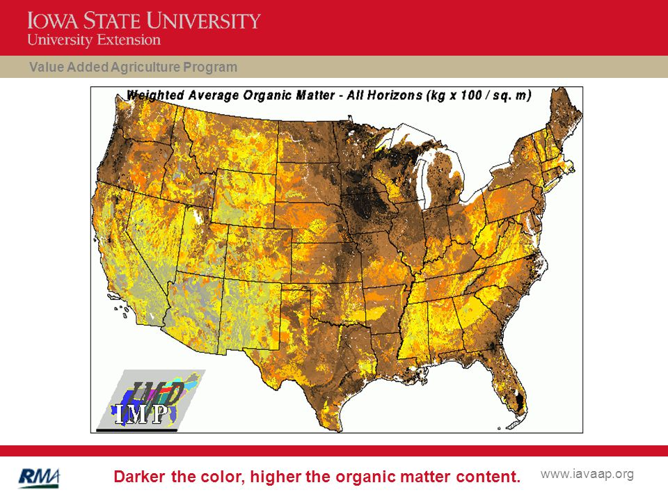 Value Added Agriculture Program www.iavaap.org Darker the color, higher the organic matter content.
