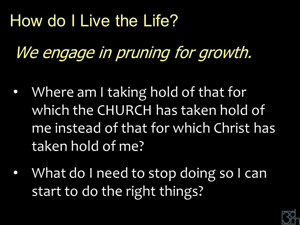 We engage in pruning for growth. Where am I taking hold of that for which the CHURCH has taken hold of me instead of that for which Christ has taken h