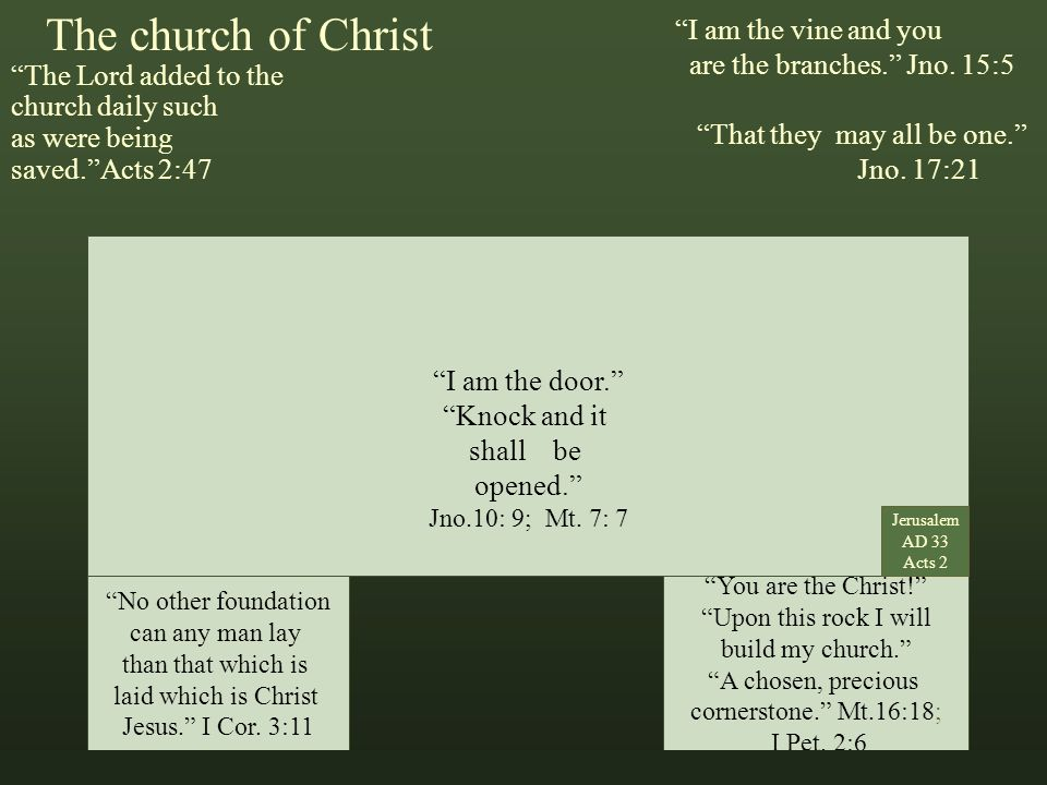 The church of Christ The Lord added to the church daily such as were being saved. Acts 2:47 Marks That Matter I am the vine and you are the branches. Jno.