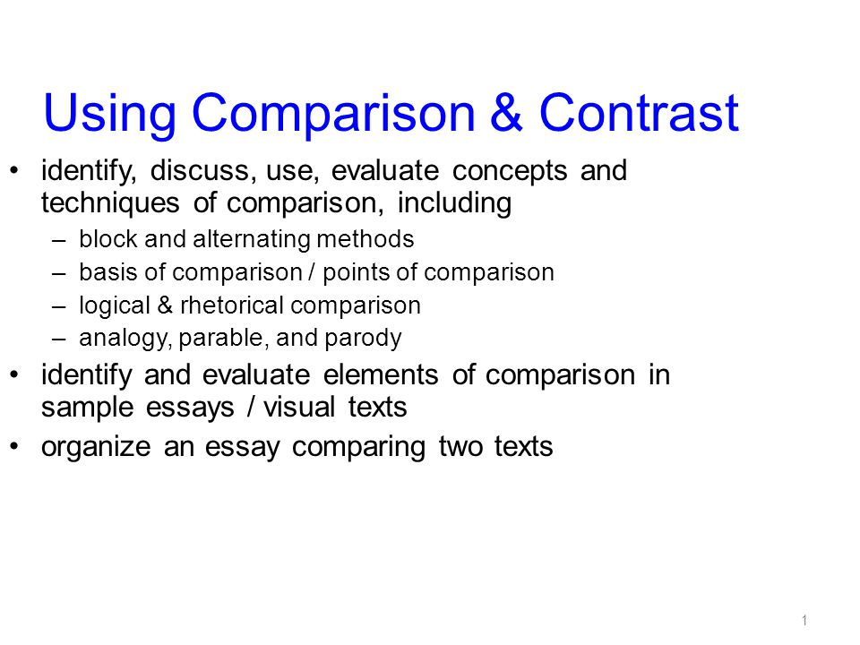 1 Using Comparison & Contrast identify, discuss, use, evaluate concepts and techniques of comparison, including –block and alternating methods –basis of comparison / points of comparison –logical & rhetorical comparison –analogy, parable, and parody identify and evaluate elements of comparison in sample essays / visual texts organize an essay comparing two texts