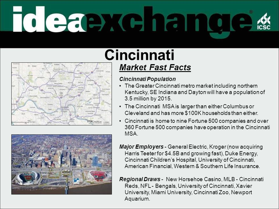 Market Fast Facts Cincinnati Population The Greater Cincinnati metro market including northern Kentucky, SE Indiana and Dayton will have a population of 3.5 million by 2015.