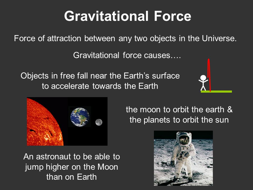 Gravitational Force Force of attraction between any two objects in the Universe. Gravitational force causes…. Objects in free fall near the Earth's su