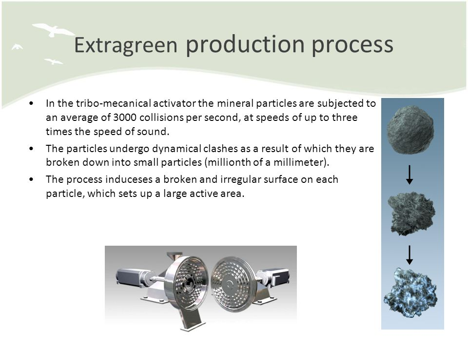 Extragreen production process In the tribo-mecanical activator the mineral particles are subjected to an average of 3000 collisions per second, at speeds of up to three times the speed of sound.