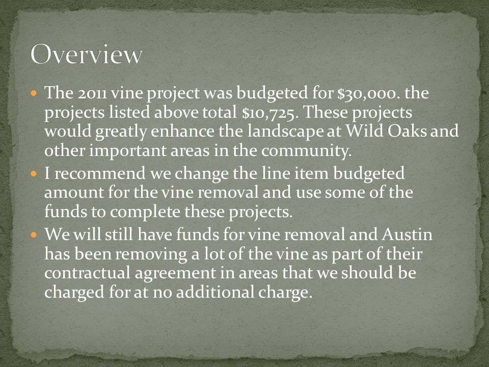 The 2011 vine project was budgeted for $30,000. the projects listed above total $10,725.