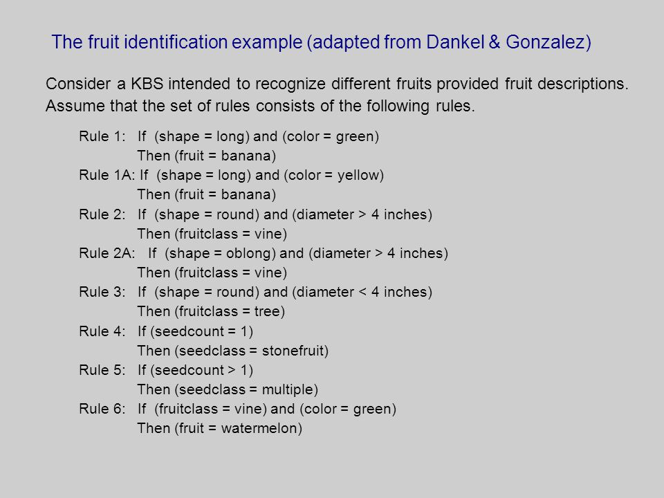 The fruit identification example (adapted from Dankel & Gonzalez) Consider a KBS intended to recognize different fruits provided fruit descriptions.