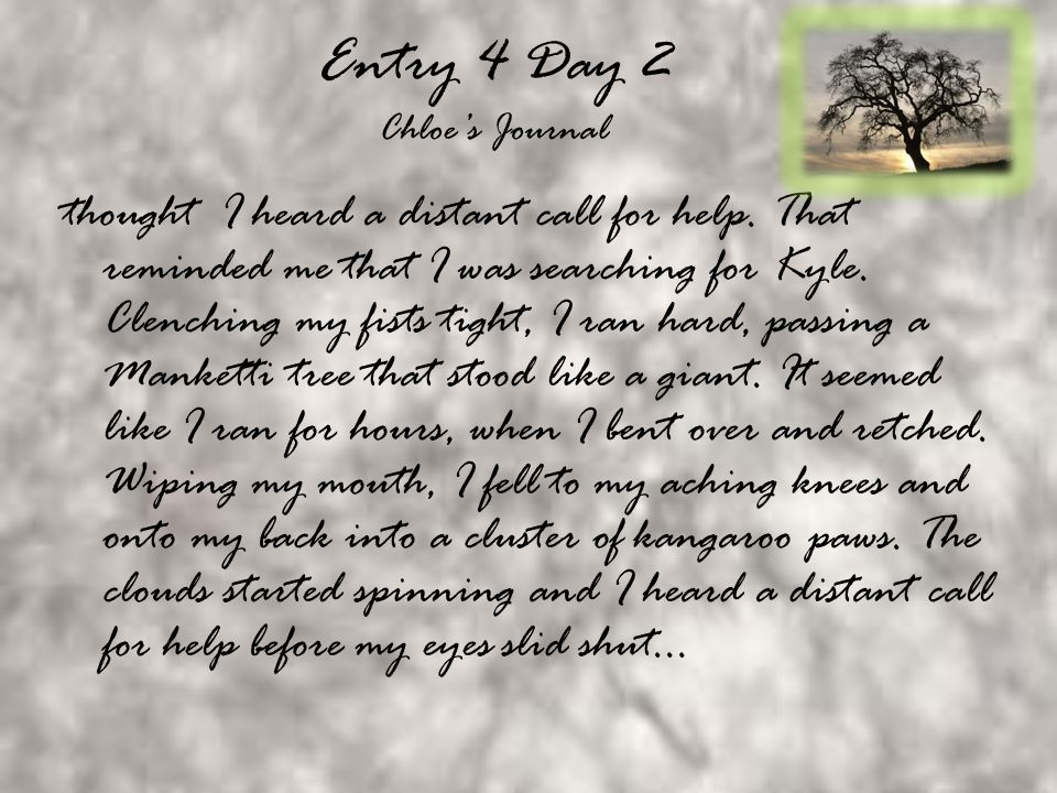 Entry 3 Day 2 Kyle's journal It must ve been nearly 5 hours since my incident with the cluster of Jarrah trees.