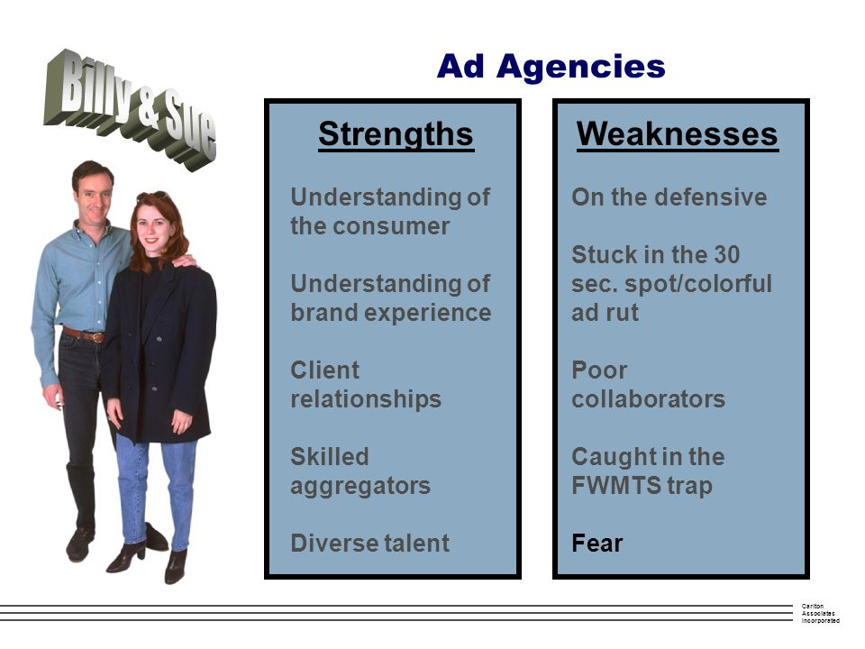 Carlton Associates Incorporated Ad Agencies Strengths Understanding of the consumer Understanding of brand experience Client relationships Skilled aggregators Diverse talent Weaknesses On the defensive Stuck in the 30 sec.