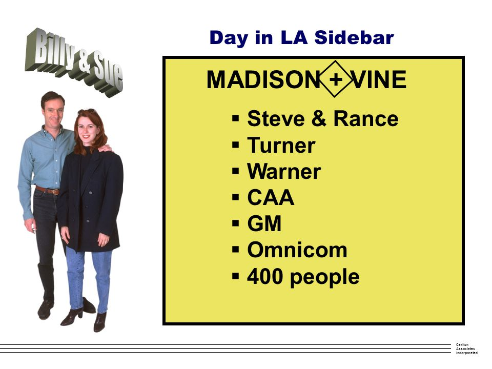 Carlton Associates Incorporated Day in LA Sidebar MADISON + VINE  Steve & Rance  Turner  Warner  CAA  GM  Omnicom  400 people