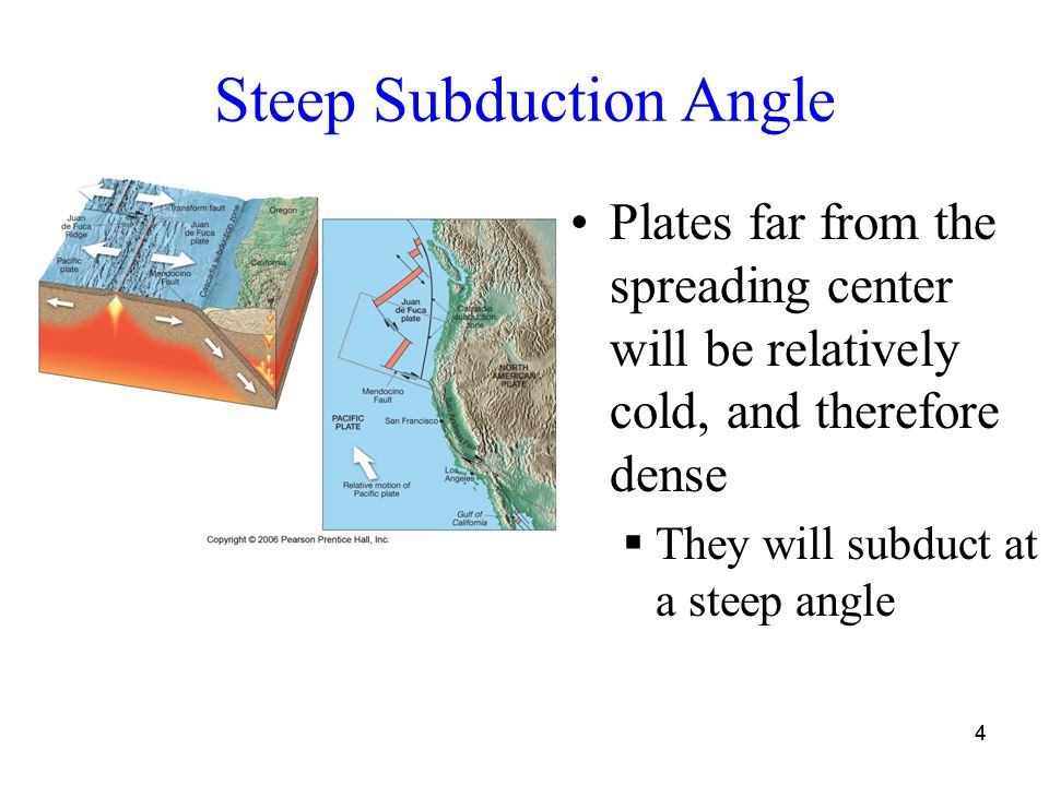 44 Steep Subduction Angle Plates far from the spreading center will be relatively cold, and therefore dense  They will subduct at a steep angle