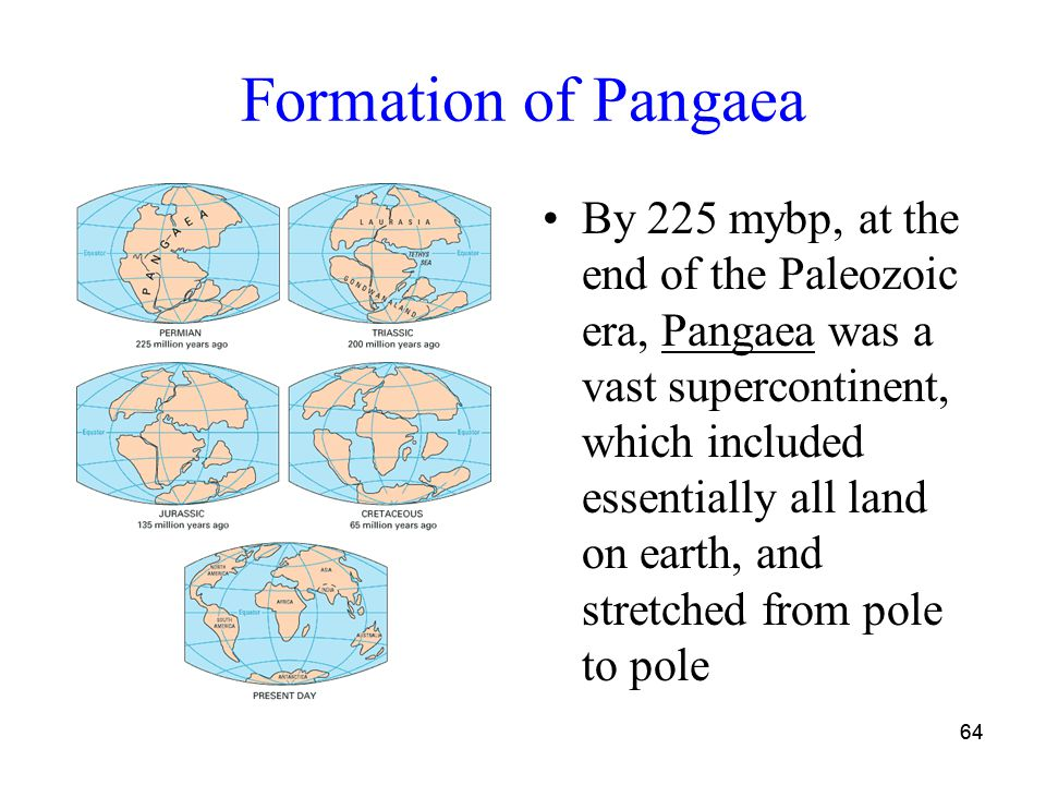 64 Formation of Pangaea By 225 mybp, at the end of the Paleozoic era, Pangaea was a vast supercontinent, which included essentially all land on earth, and stretched from pole to pole