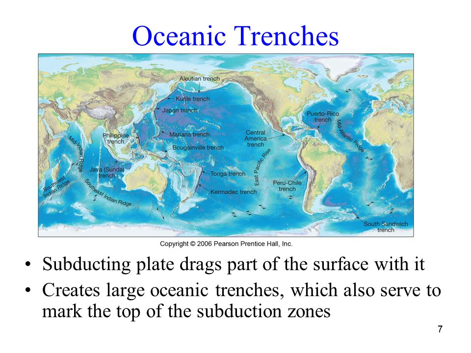 77 Oceanic Trenches Subducting plate drags part of the surface with it Creates large oceanic trenches, which also serve to mark the top of the subduction zones