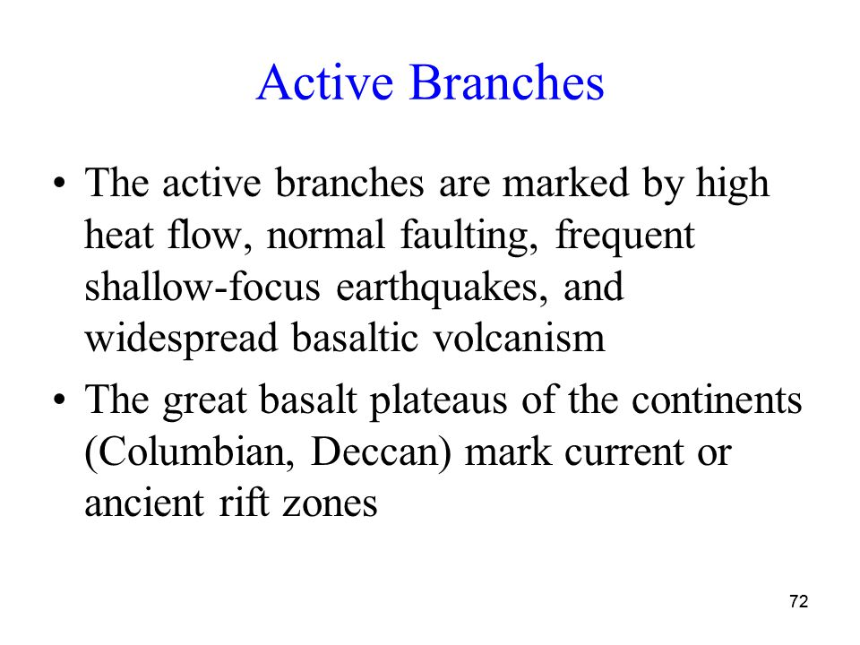 72 Active Branches The active branches are marked by high heat flow, normal faulting, frequent shallow-focus earthquakes, and widespread basaltic volcanism The great basalt plateaus of the continents (Columbian, Deccan) mark current or ancient rift zones