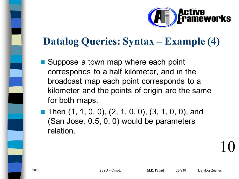 L8-S10 Datalog Queries 2003 SJSU – CmpE --- M.E. Fayad Suppose a town map where each point corresponds to a half kilometer, and in the broadcast map e