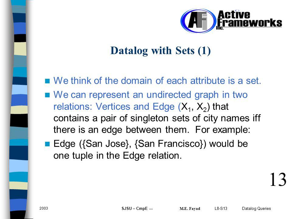 L8-S13 Datalog Queries 2003 SJSU – CmpE --- M.E.