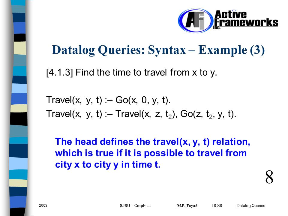 L8-S8 Datalog Queries 2003 SJSU – CmpE --- M.E. Fayad [4.1.3] Find the time to travel from x to y.