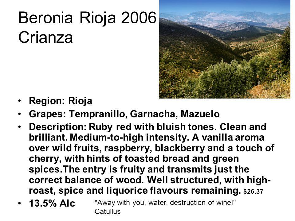 Beronia Rioja 2006 Crianza Region: Rioja Grapes: Tempranillo, Garnacha, Mazuelo Description: Ruby red with bluish tones.