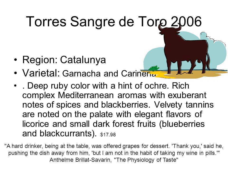 Torres Sangre de Toro 2006 Region: Catalunya Varietal: Garnacha and Carinena.
