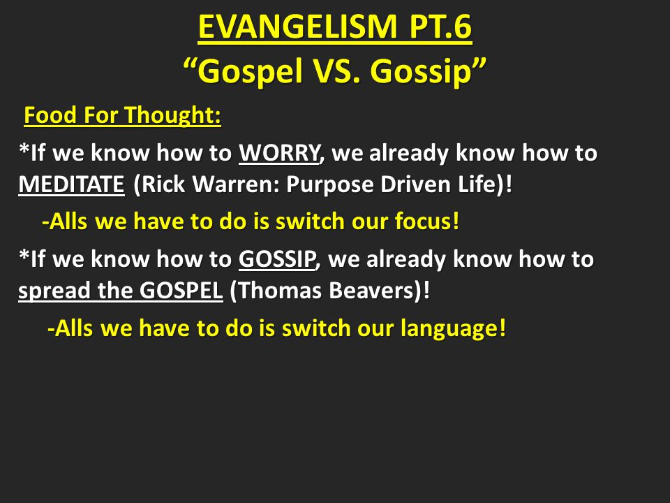 The Importance of Spreading the GOSPEL: The Importance of Spreading the GOSPEL: John 15:1-7: Spreading the Gospel Is Our Mission! VS.1-2 Jesus gives the analogy of the vine, the branches, and the husbandman/gardener.