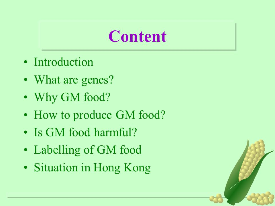 Content Introduction What are genes.Why GM food. How to produce GM food.