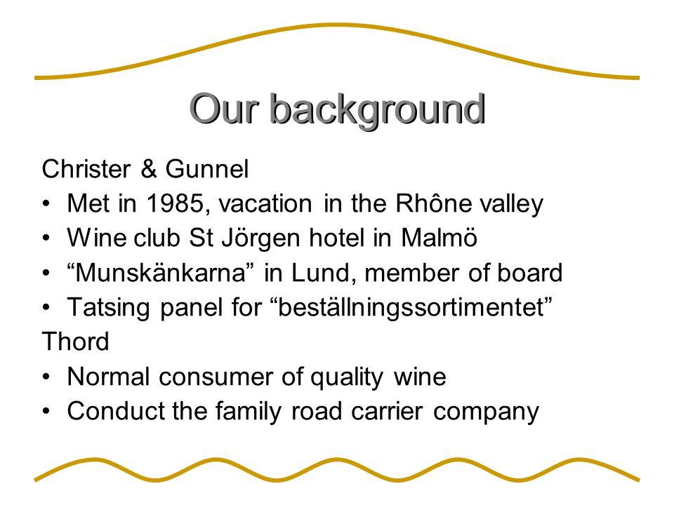 "Our background Christer & Gunnel Met in 1985, vacation in the Rhône valley Wine club St Jörgen hotel in Malmö ""Munskänkarna"" in Lund, member of board"