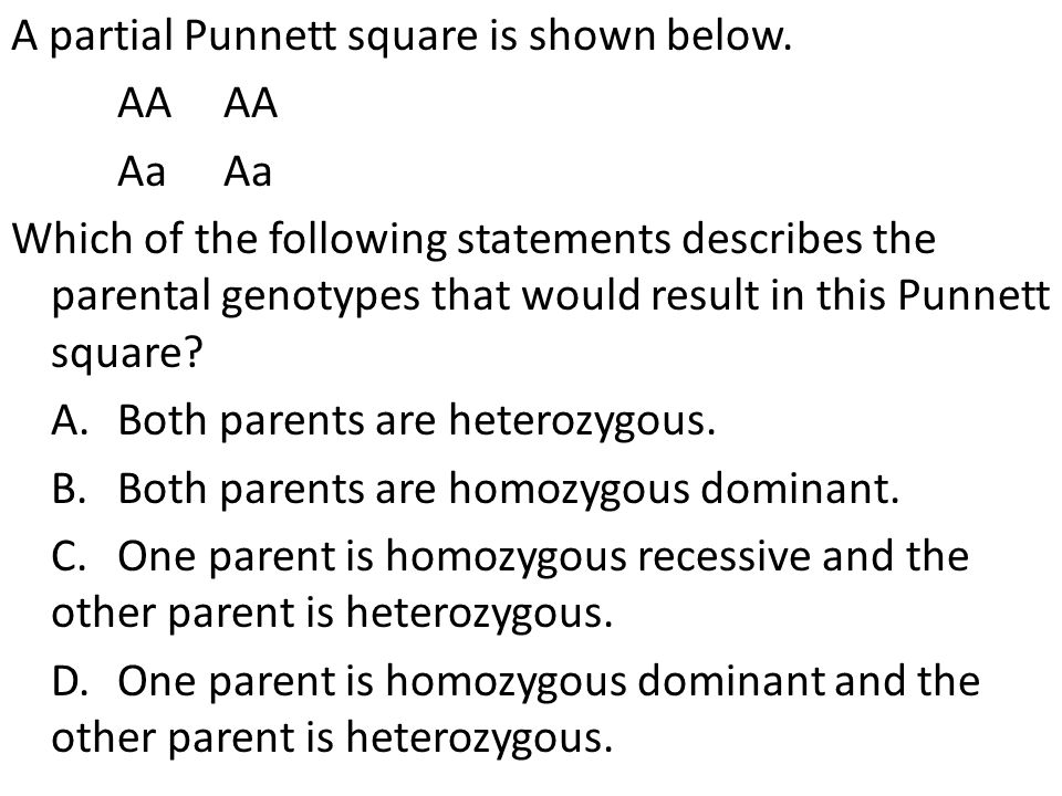 A partial Punnett square is shown below.AAAa Which of the following statements describes the parental genotypes that would result in this Punnett squa