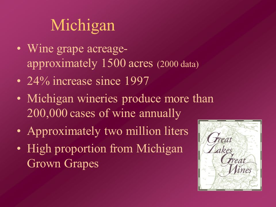Wine grape acreage- approximately 1500 acres (2000 data) 24% increase since 1997 Michigan wineries produce more than 200,000 cases of wine annually Approximately two million liters High proportion from Michigan Grown Grapes Michigan