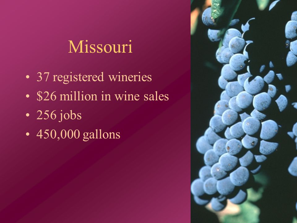 Missouri 37 registered wineries $26 million in wine sales 256 jobs 450,000 gallons