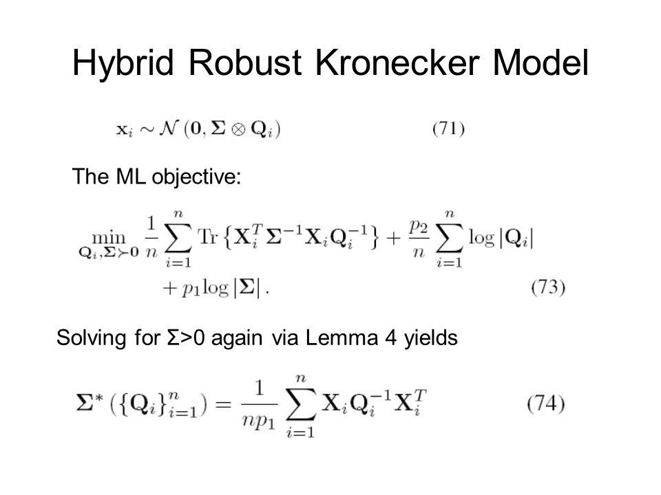 Hybrid Robust Kronecker Model The ML objective: Solving for Σ>0 again via Lemma 4 yields