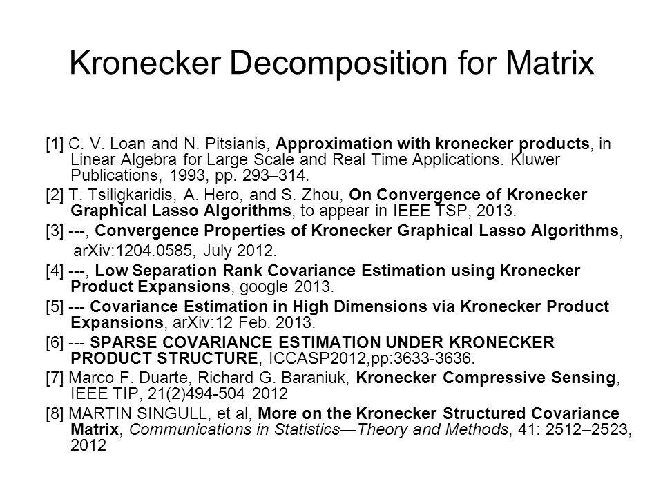 Kronecker Decomposition for Matrix [1] C.V. Loan and N.