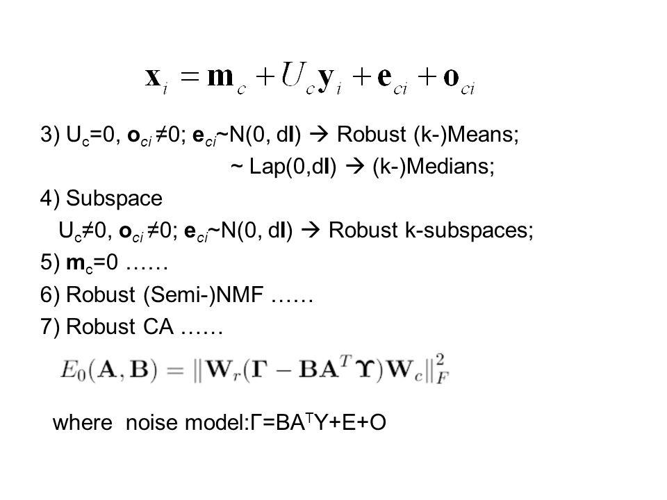 3) U c =0, o ci ≠0; e ci ~N(0, dI)  Robust (k-)Means; ~ Lap(0,dI)  (k-)Medians; 4) Subspace U c ≠0, o ci ≠0; e ci ~N(0, dI)  Robust k-subspaces; 5) m c =0 …… 6) Robust (Semi-)NMF …… 7) Robust CA …… where noise model:Γ=BA T Υ+E+O