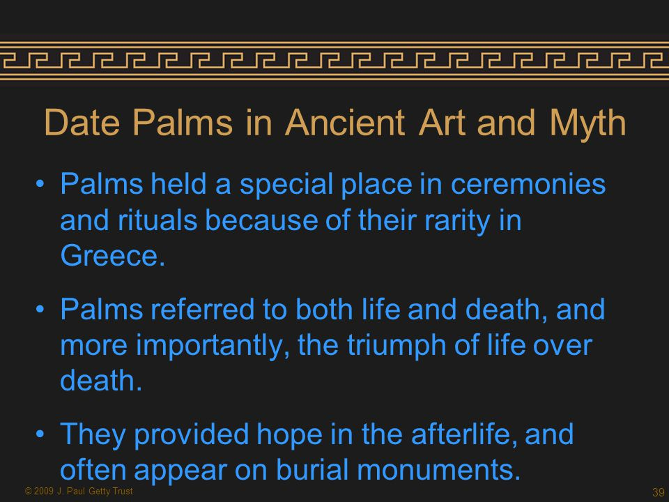Date Palms in Ancient Art and Myth Palms held a special place in ceremonies and rituals because of their rarity in Greece.