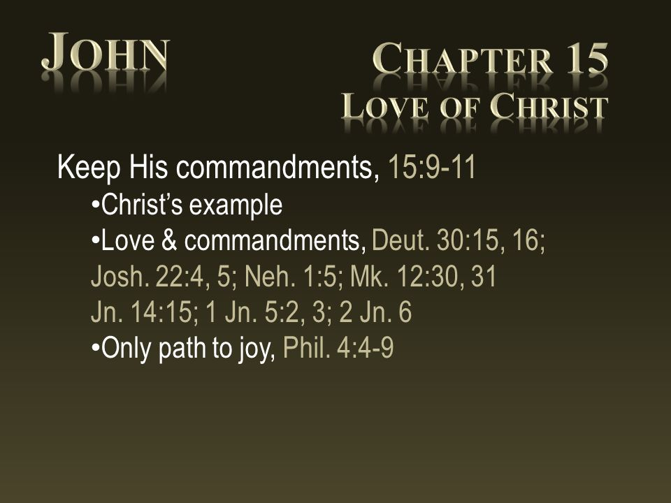 Keep His commandments, 15:9-11 Christ's example Love & commandments, Deut.