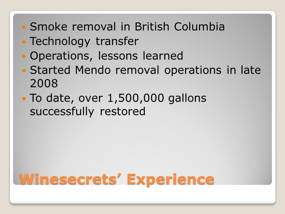 Smoke Removal Technologies Reverse Osmosis ◦Pressure/pore size ◦Carbon block ◦Granulated carbon ◦Resin