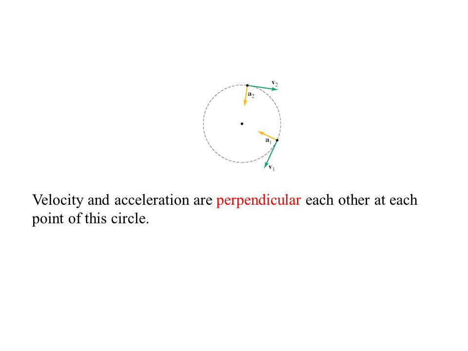 Velocity and acceleration are perpendicular each other at each point of this circle.