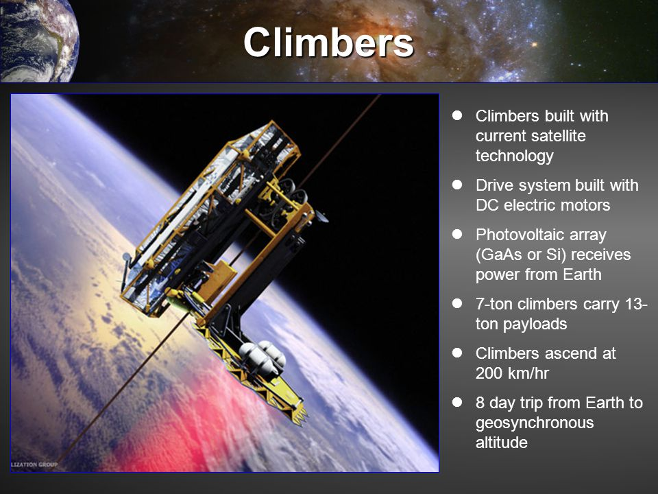 Climbers Climbers built with current satellite technology Drive system built with DC electric motors Photovoltaic array (GaAs or Si) receives power fr