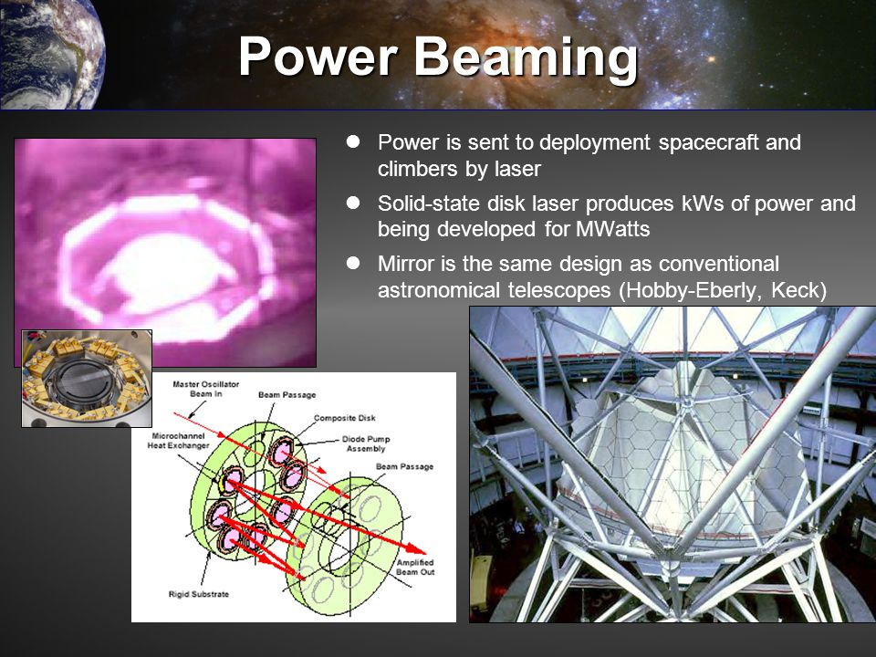 Power Beaming Power is sent to deployment spacecraft and climbers by laser Solid-state disk laser produces kWs of power and being developed for MWatts
