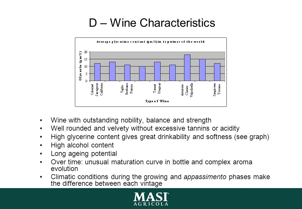 D – Wine Characteristics Wine with outstanding nobility, balance and strength Well rounded and velvety without excessive tannins or acidity High glycerine content gives great drinkability and softness (see graph) High alcohol content Long ageing potential Over time: unusual maturation curve in bottle and complex aroma evolution Climatic conditions during the growing and appassimento phases make the difference between each vintage