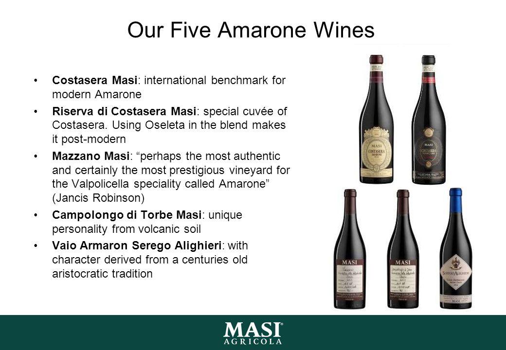 Our Five Amarone Wines Costasera Masi: international benchmark for modern Amarone Riserva di Costasera Masi: special cuvée of Costasera.