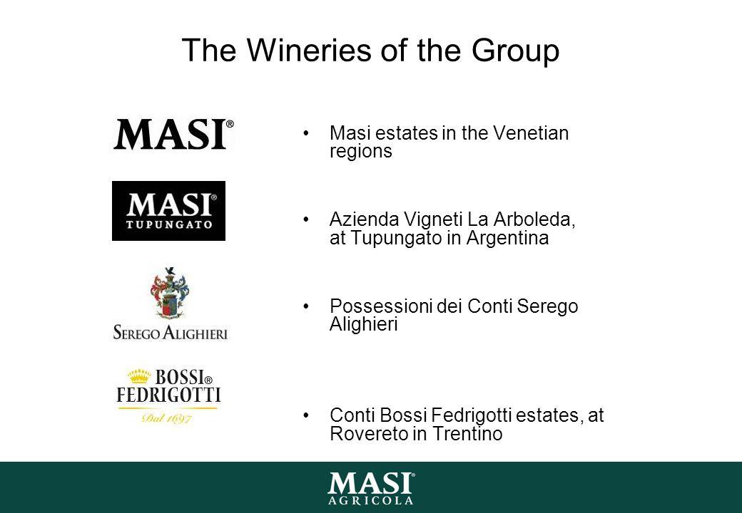 The Wineries of the Group Masi estates in the Venetian regions Azienda Vigneti La Arboleda, at Tupungato in Argentina Possessioni dei Conti Serego Alighieri Conti Bossi Fedrigotti estates, at Rovereto in Trentino