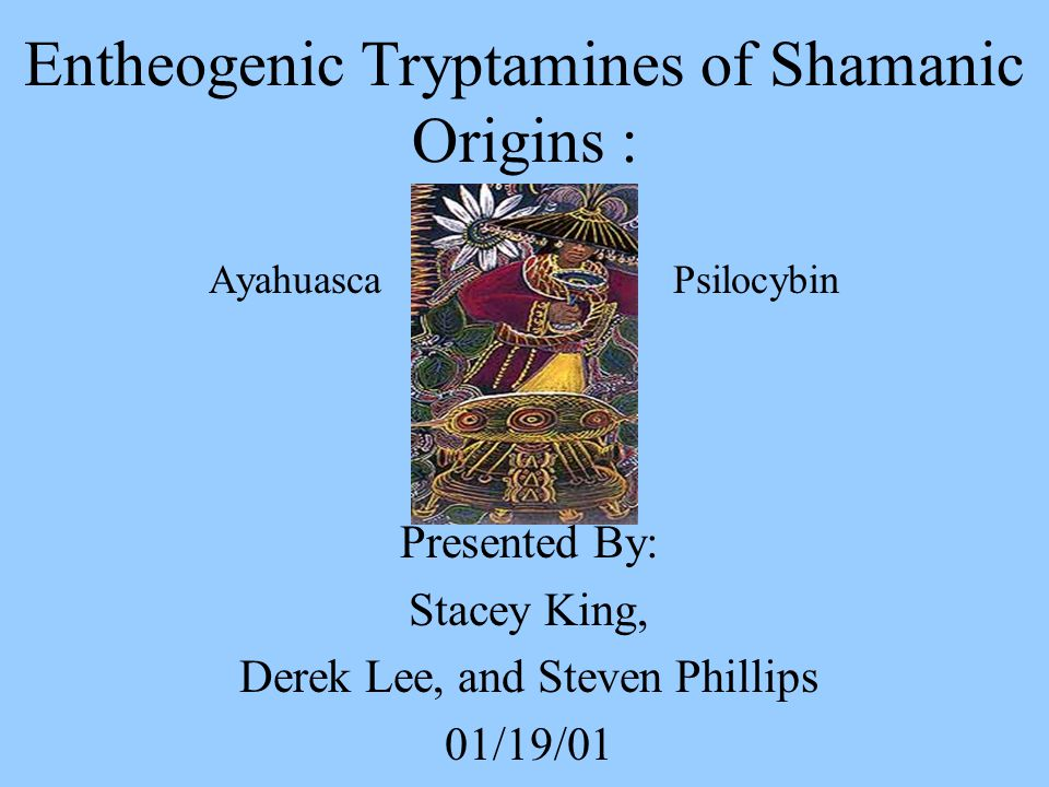 Entheogenic Tryptamines of Shamanic Origins : Ayahuasca Psilocybin Presented By: Stacey King, Derek Lee, and Steven Phillips 01/19/01