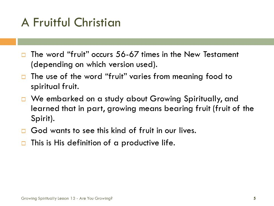 A Fruitful Christian  The word fruit occurs 56-67 times in the New Testament (depending on which version used).