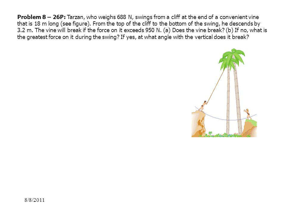 8/8/2011 Problem 8 – 26P: Tarzan, who weighs 688 N, swings from a cliff at the end of a convenient vine that is 18 m long (see figure). From the top o